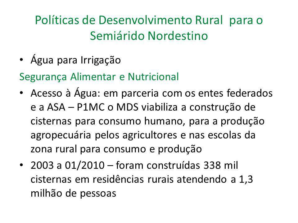 Políticas de Desenvolvimento Rural para o Semiárido Nordestino Água para Irrigação Segurança Alimentar e Nutricional Acesso à Água: em parceria com os