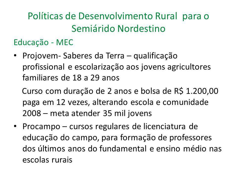 Políticas de Desenvolvimento Rural para o Semiárido Nordestino Educação - MEC Projovem- Saberes da Terra – qualificação profissional e escolarização a