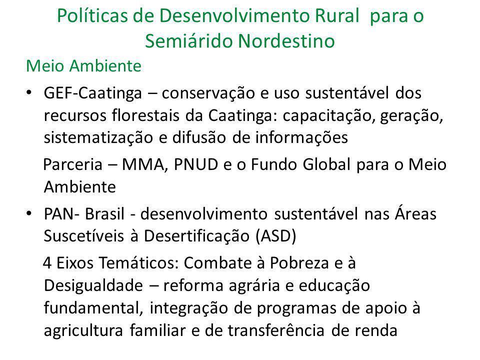 Políticas de Desenvolvimento Rural para o Semiárido Nordestino Meio Ambiente GEF-Caatinga – conservação e uso sustentável dos recursos florestais da C