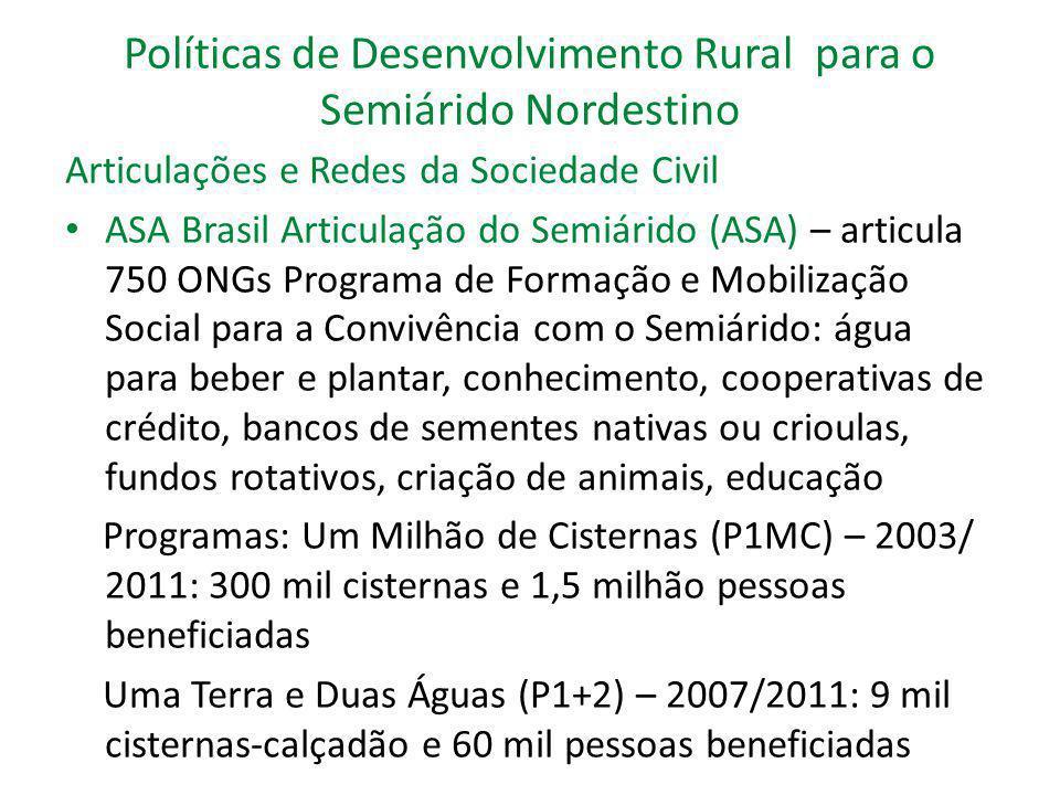 Políticas de Desenvolvimento Rural para o Semiárido Nordestino Articulações e Redes da Sociedade Civil ASA Brasil Articulação do Semiárido (ASA) – art
