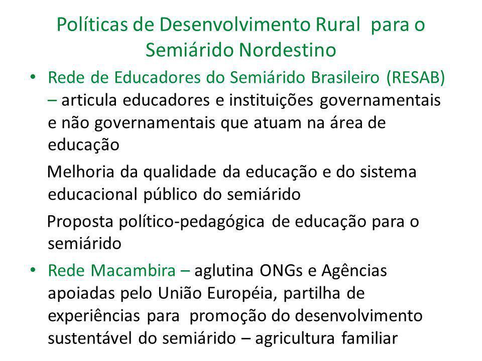 Políticas de Desenvolvimento Rural para o Semiárido Nordestino Rede de Educadores do Semiárido Brasileiro (RESAB) – articula educadores e instituições