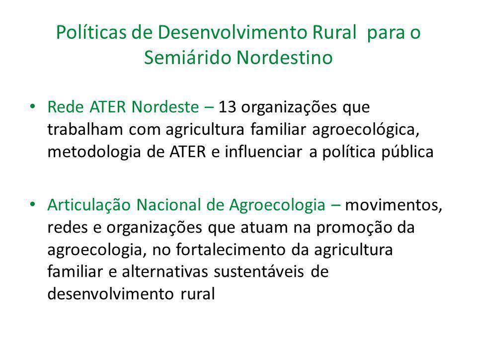 Políticas de Desenvolvimento Rural para o Semiárido Nordestino Rede ATER Nordeste – 13 organizações que trabalham com agricultura familiar agroecológi