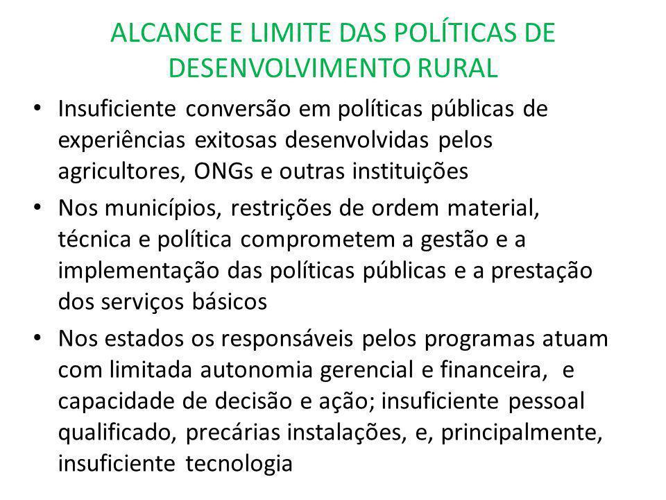 ALCANCE E LIMITE DAS POLÍTICAS DE DESENVOLVIMENTO RURAL Insuficiente conversão em políticas públicas de experiências exitosas desenvolvidas pelos agri