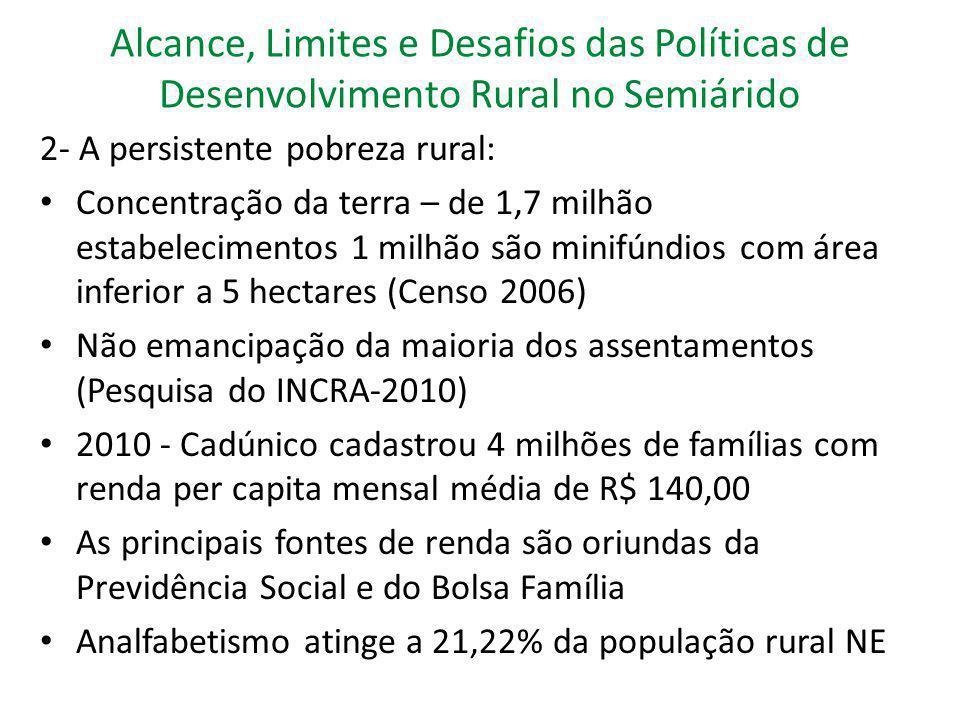 Alcance, Limites e Desafios das Políticas de Desenvolvimento Rural no Semiárido 2- A persistente pobreza rural: Concentração da terra – de 1,7 milhão