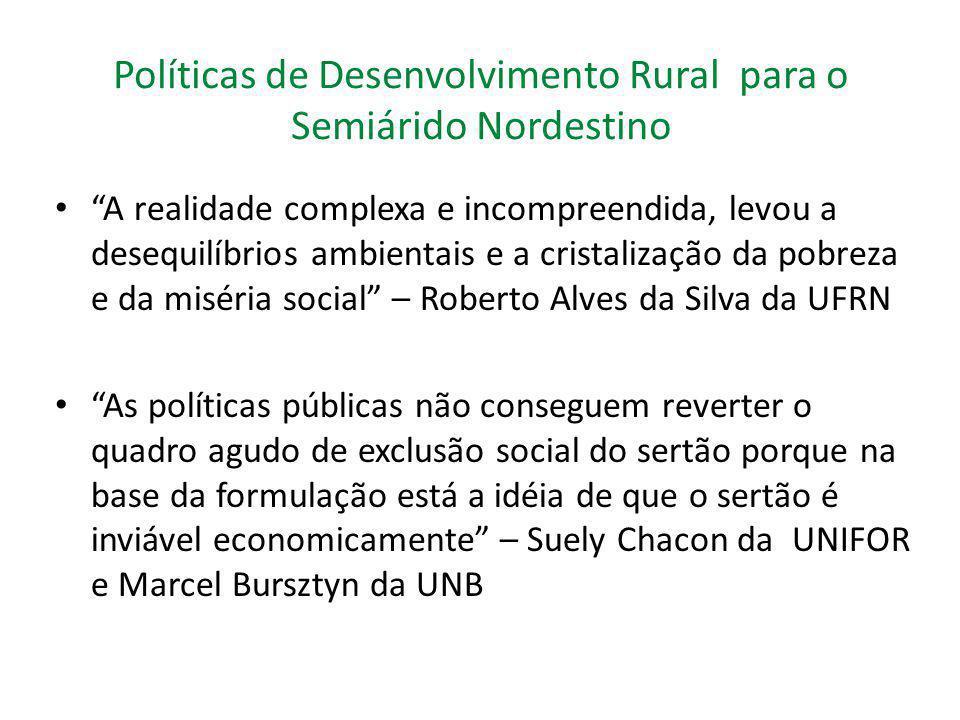 """Políticas de Desenvolvimento Rural para o Semiárido Nordestino """"A realidade complexa e incompreendida, levou a desequilíbrios ambientais e a cristaliz"""