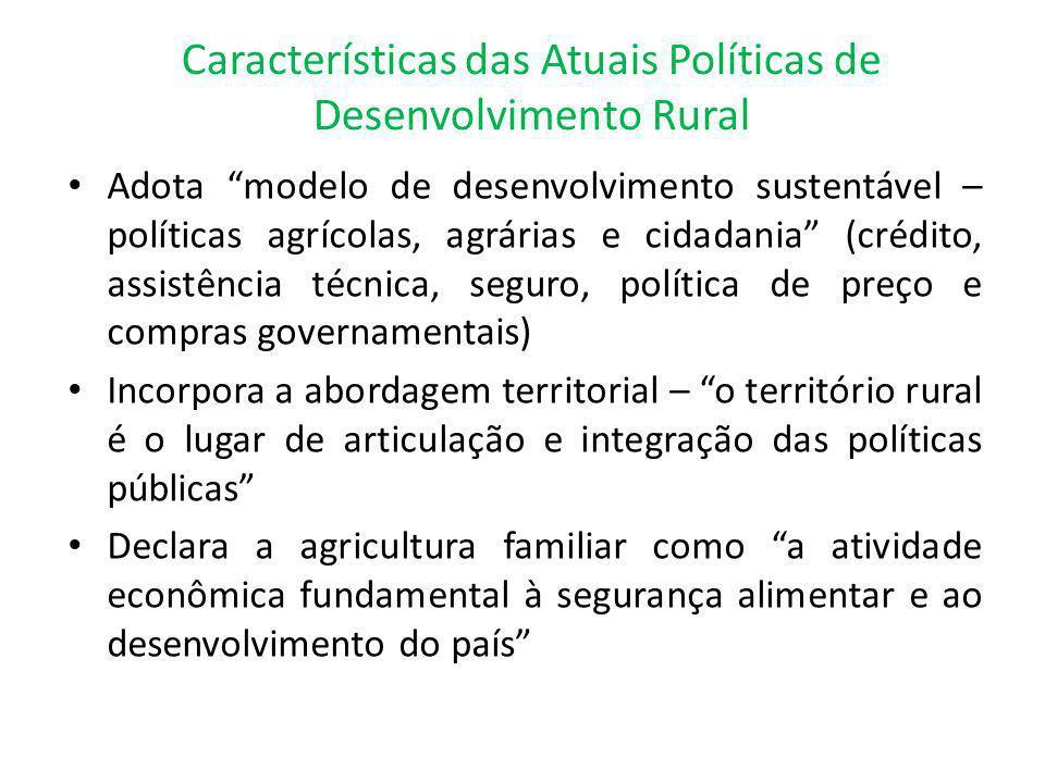 """Características das Atuais Políticas de Desenvolvimento Rural Adota """"modelo de desenvolvimento sustentável – políticas agrícolas, agrárias e cidadania"""