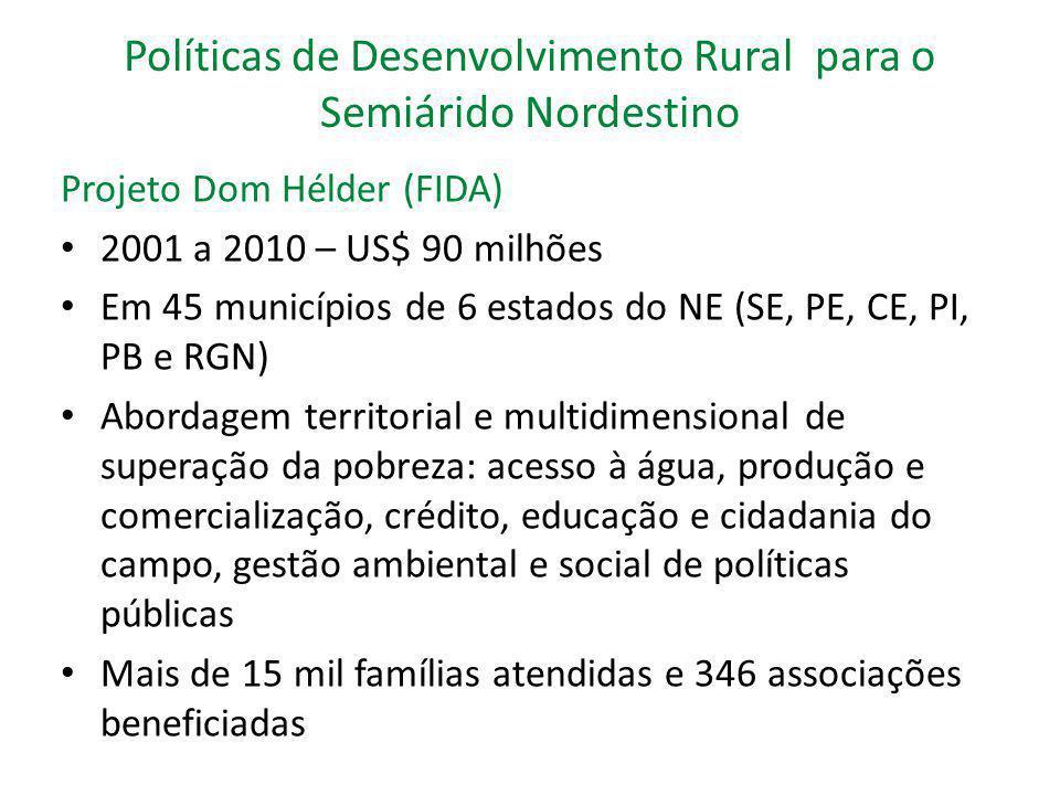 Políticas de Desenvolvimento Rural para o Semiárido Nordestino Crédito Rural – Pronaf Presente em 5.387 municípios – 1.133 semiárido Volume de recursos ampliado entre 2002/2003 a 2009/2010 R$ 13 bilhões Beneficiados 2.778 milhões agricultores familiares em 2008 Linhas Especiais - Pronaf Semiárido: 50% do financiamento em infraestrutura hídrica Plano Safra 2011/2012 - Limite de financiamento ampliado de R$ 10 mil para R$ 12 mil;