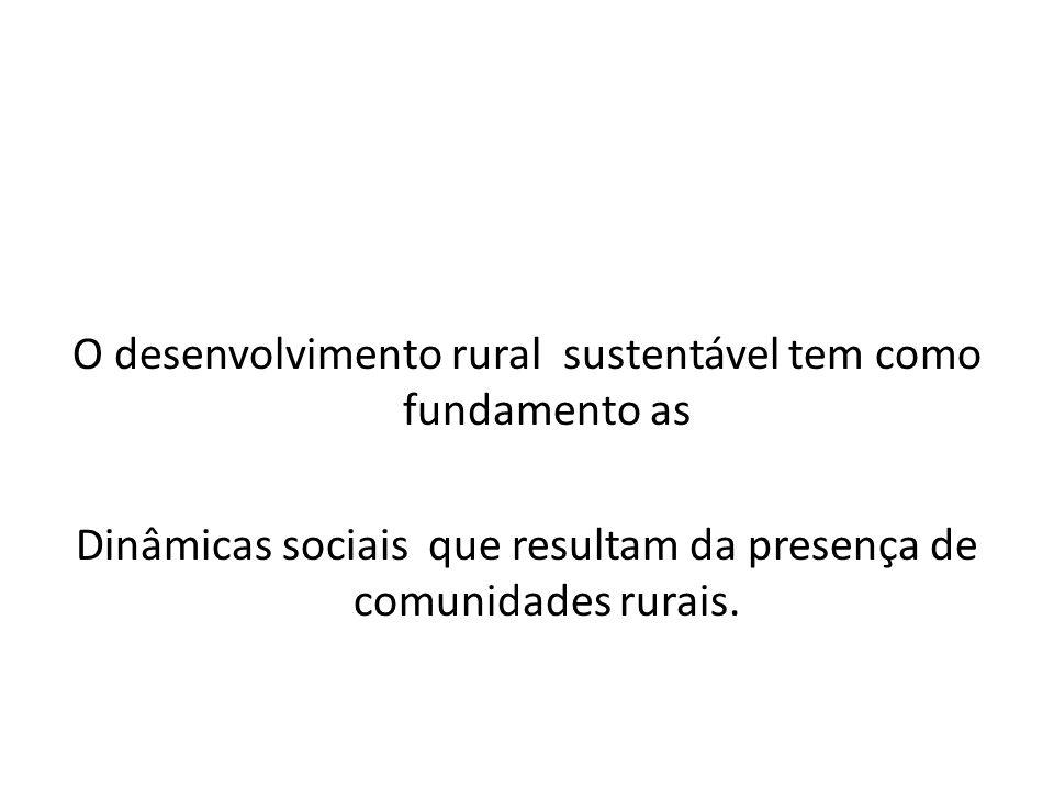 O desenvolvimento rural sustentável tem como fundamento as Dinâmicas sociais que resultam da presença de comunidades rurais.