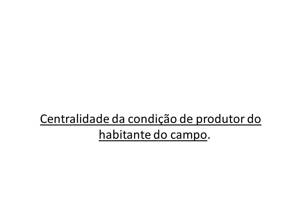Centralidade da condição de produtor do habitante do campo.