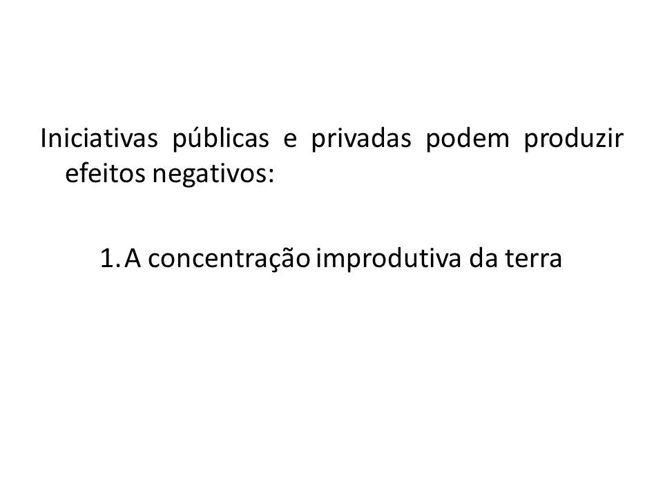 Iniciativas públicas e privadas podem produzir efeitos negativos: 1.A concentração improdutiva da terra