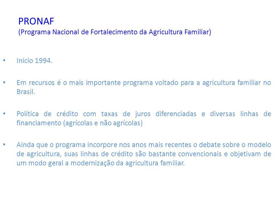 PRONAF (Programa Nacional de Fortalecimento da Agricultura Familiar) Início 1994. Em recursos é o mais importante programa voltado para a agricultura