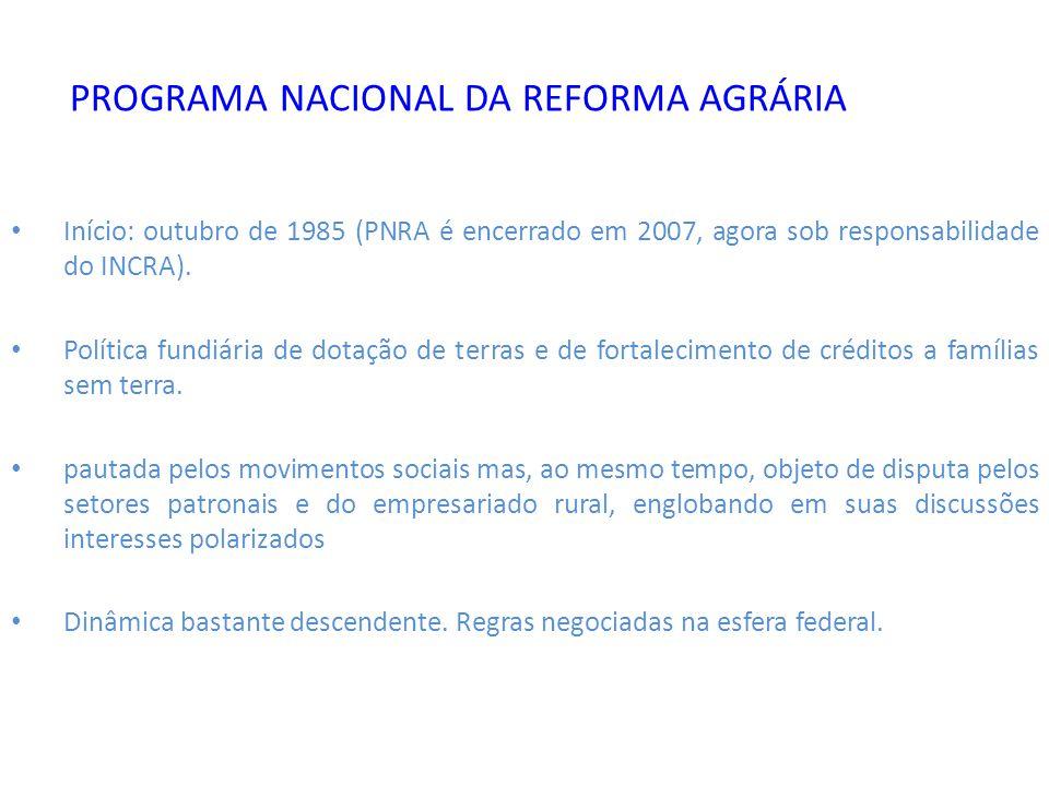 PROGRAMA NACIONAL DA REFORMA AGRÁRIA Início: outubro de 1985 (PNRA é encerrado em 2007, agora sob responsabilidade do INCRA). Política fundiária de do