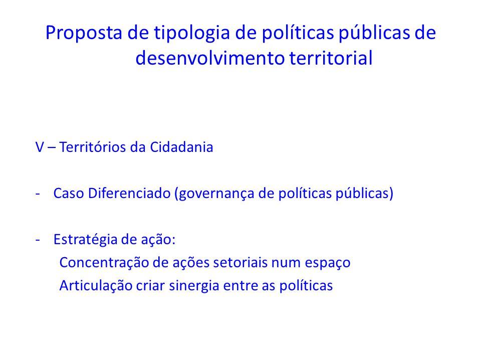 Proposta de tipologia de políticas públicas de desenvolvimento territorial V – Territórios da Cidadania -Caso Diferenciado (governança de políticas pú