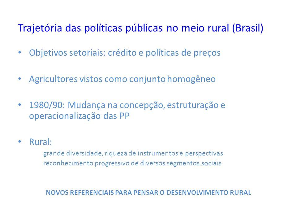 Trajetória das políticas públicas no meio rural (Brasil) Objetivos setoriais: crédito e políticas de preços Agricultores vistos como conjunto homogêne