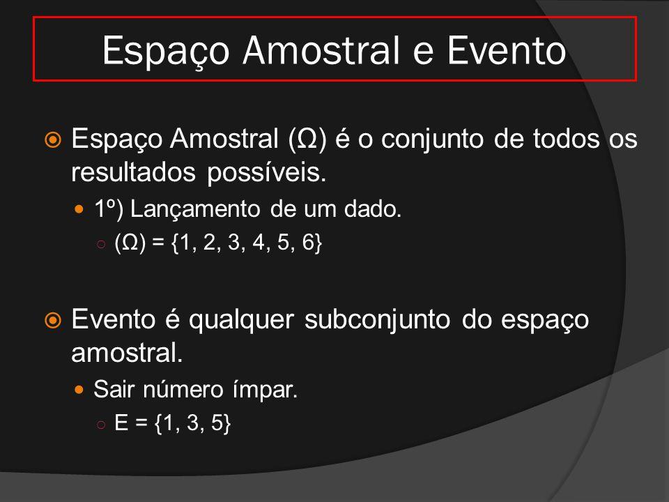 Espaço Amostral e Evento  Espaço Amostral (Ω) é o conjunto de todos os resultados possíveis. 1º) Lançamento de um dado. ○ (Ω) = {1, 2, 3, 4, 5, 6} 