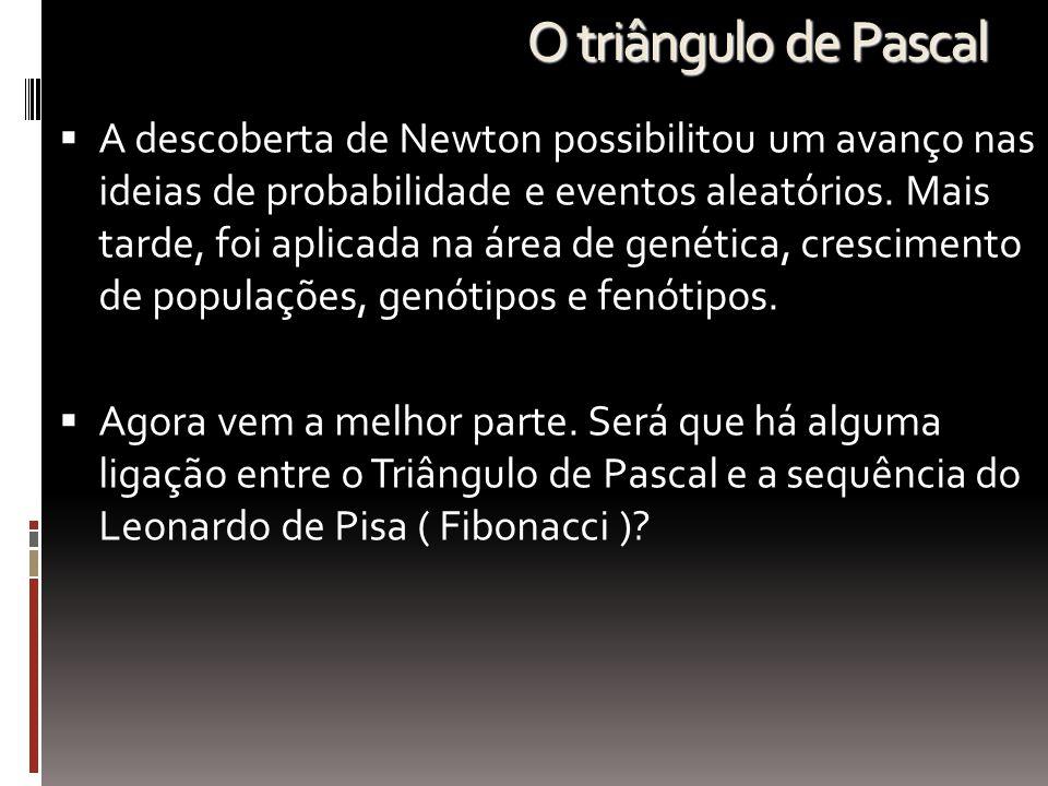 O triângulo de Pascal  A descoberta de Newton possibilitou um avanço nas ideias de probabilidade e eventos aleatórios. Mais tarde, foi aplicada na ár