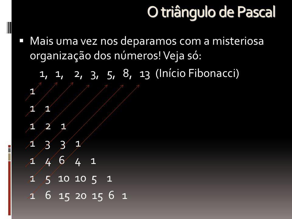 O triângulo de Pascal MMais uma vez nos deparamos com a misteriosa organização dos números! Veja só: 1, 1, 2, 3, 5, 8, 13 (Início Fibonacci) 1 1 1 1