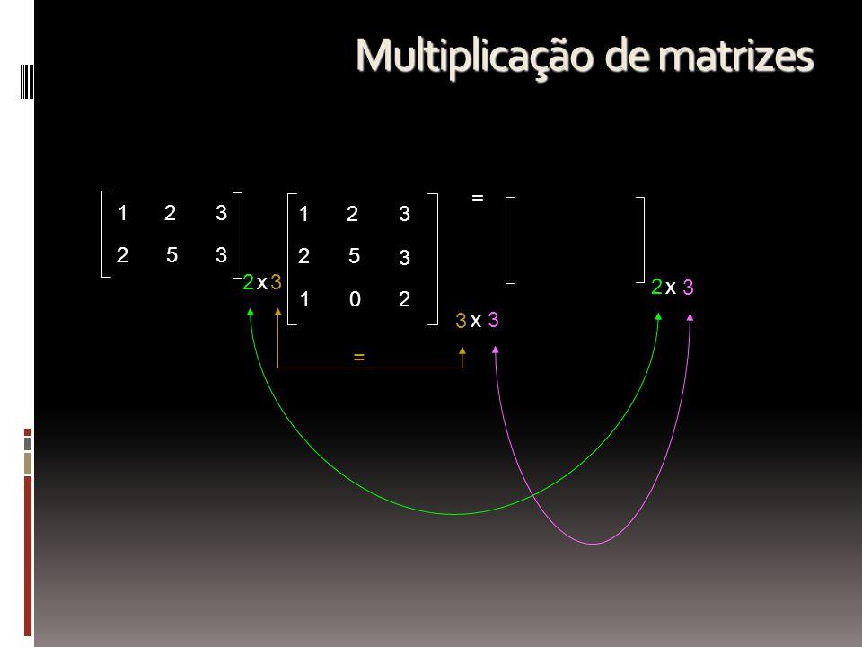 123 253 2 123 25 3 102 = x3 3 x3 = 2x 3 Multiplicação de matrizes