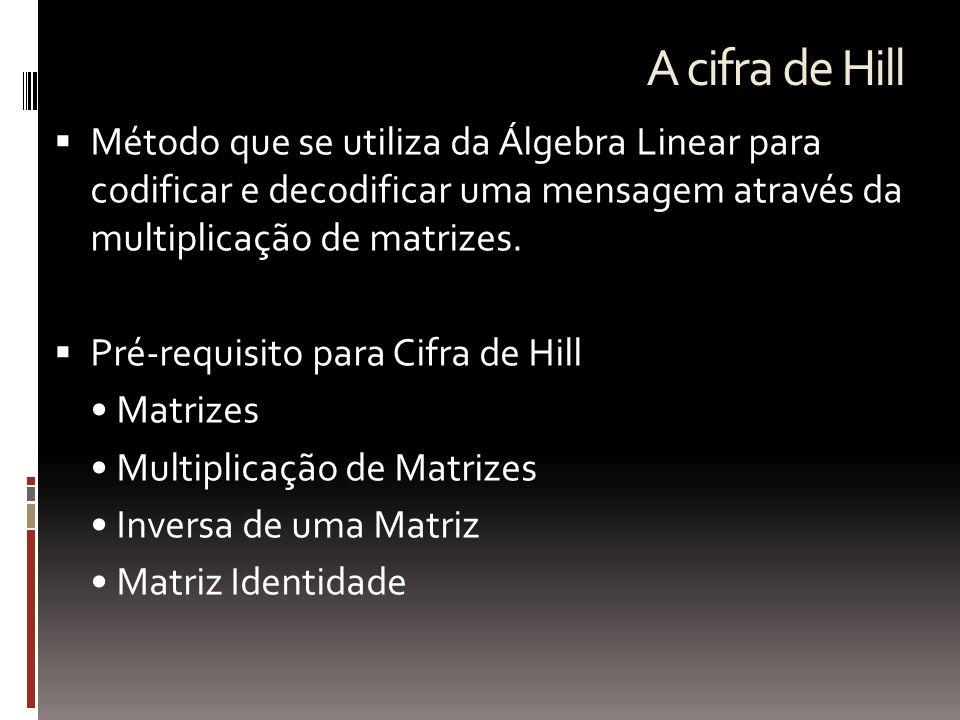 A cifra de Hill  Método que se utiliza da Álgebra Linear para codificar e decodificar uma mensagem através da multiplicação de matrizes.  Pré-requis