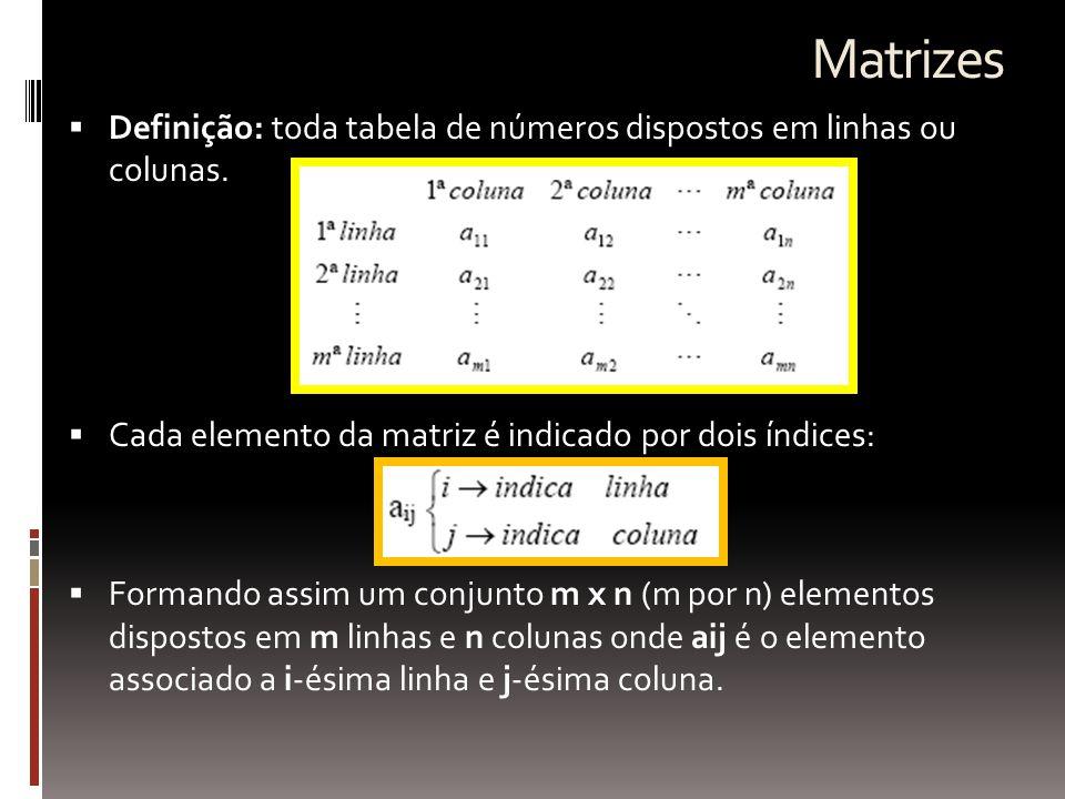 Matrizes Especiais  Matriz-linha – matriz de tipo 1×n  Matriz-coluna – matriz de tipo m×1  Matriz-quadrada – matriz de tipo n×n ou de ordem n  elementos principais = Aii diagonal principal  tr(A) = traço de uma matriz quadrada = soma dos elementos da diagonal principal  Matriz transposta  obtém-se através da troca ordenada de linhas por colunas (colunas por linhas) de uma matriz.