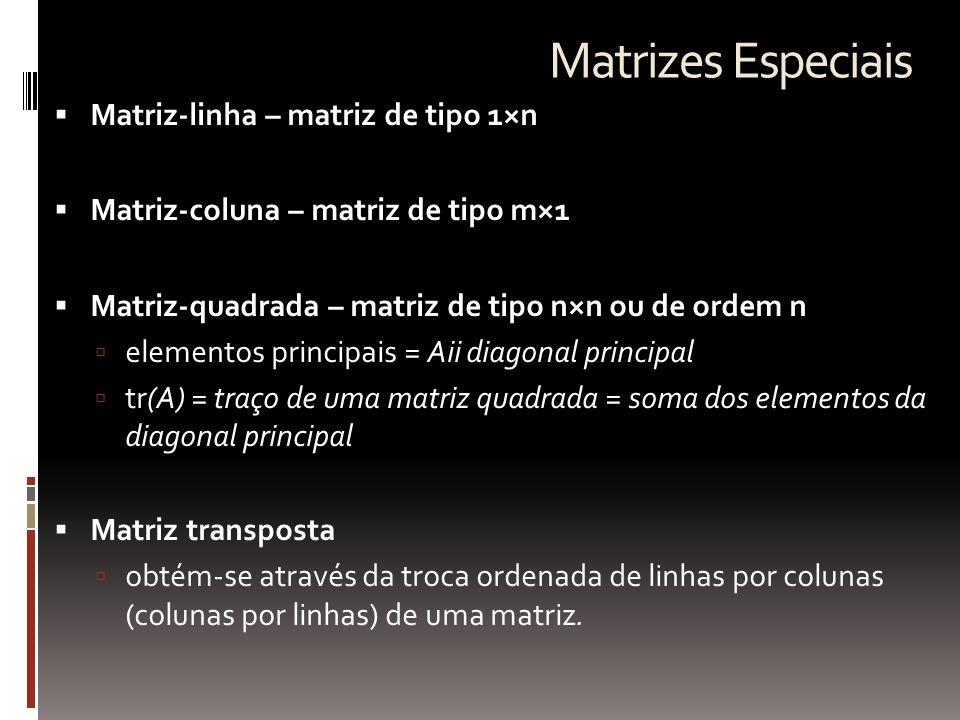 Matrizes Especiais  Matriz-linha – matriz de tipo 1×n  Matriz-coluna – matriz de tipo m×1  Matriz-quadrada – matriz de tipo n×n ou de ordem n  ele