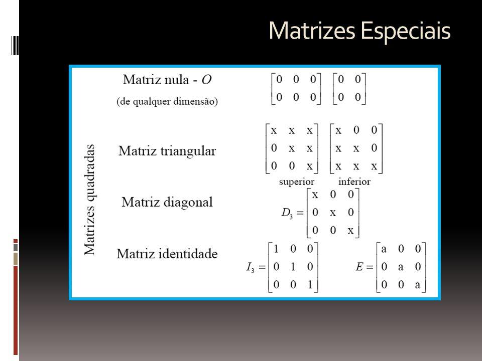 Operações Matriciais  Igualdade de matrizes: duas matrizes são iguais se e só se os elementos homólogos são iguais.