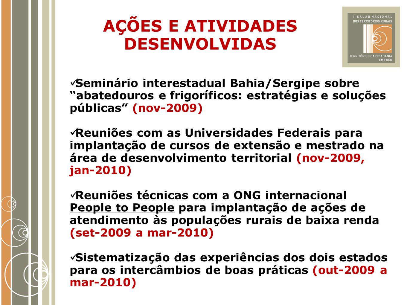 """AÇÕES E ATIVIDADES DESENVOLVIDAS Seminário interestadual Bahia/Sergipe sobre """"abatedouros e frigoríficos: estratégias e soluções públicas"""" (nov-2009)"""