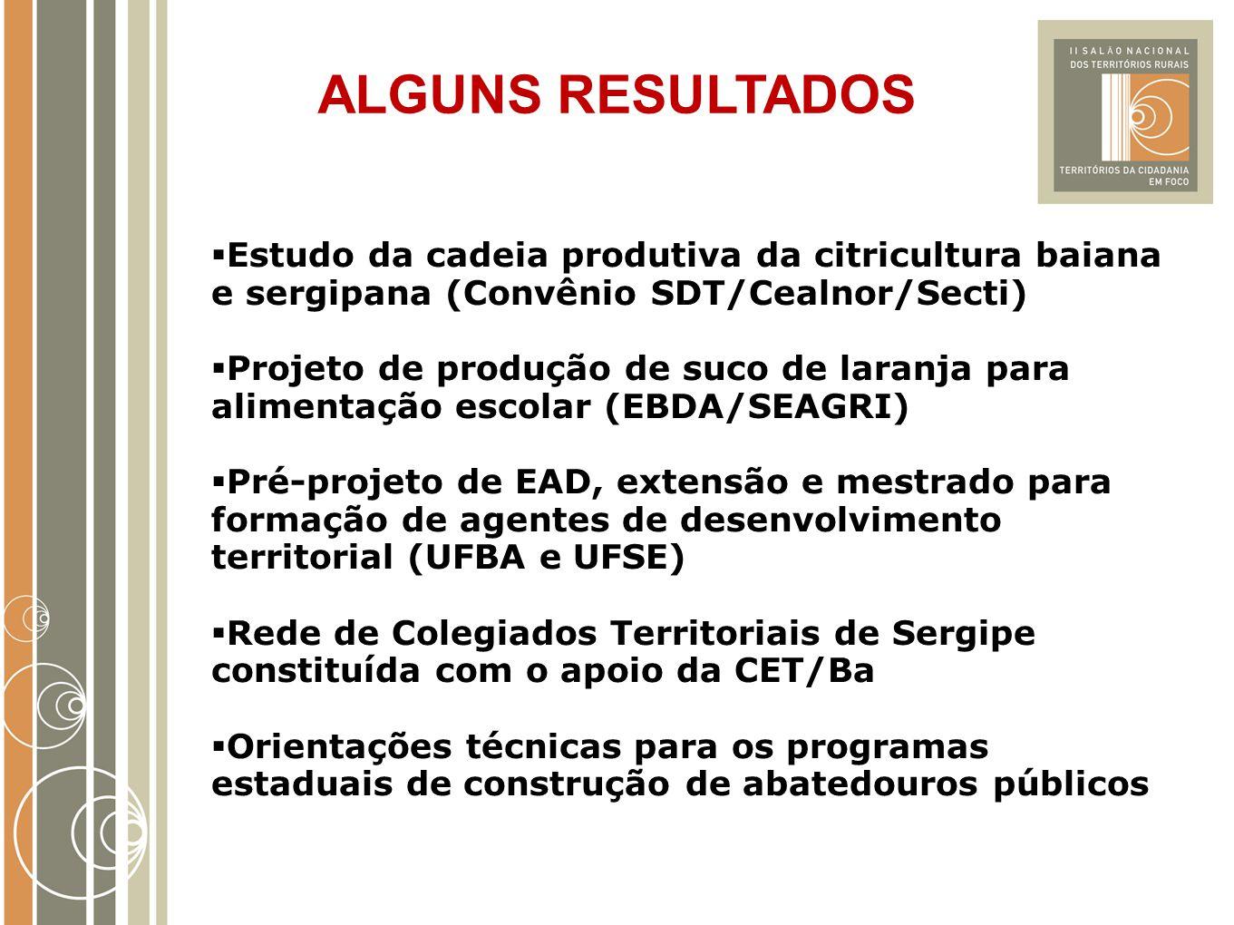 ALGUNS RESULTADOS  Estudo da cadeia produtiva da citricultura baiana e sergipana (Convênio SDT/Cealnor/Secti)  Projeto de produção de suco de laranj