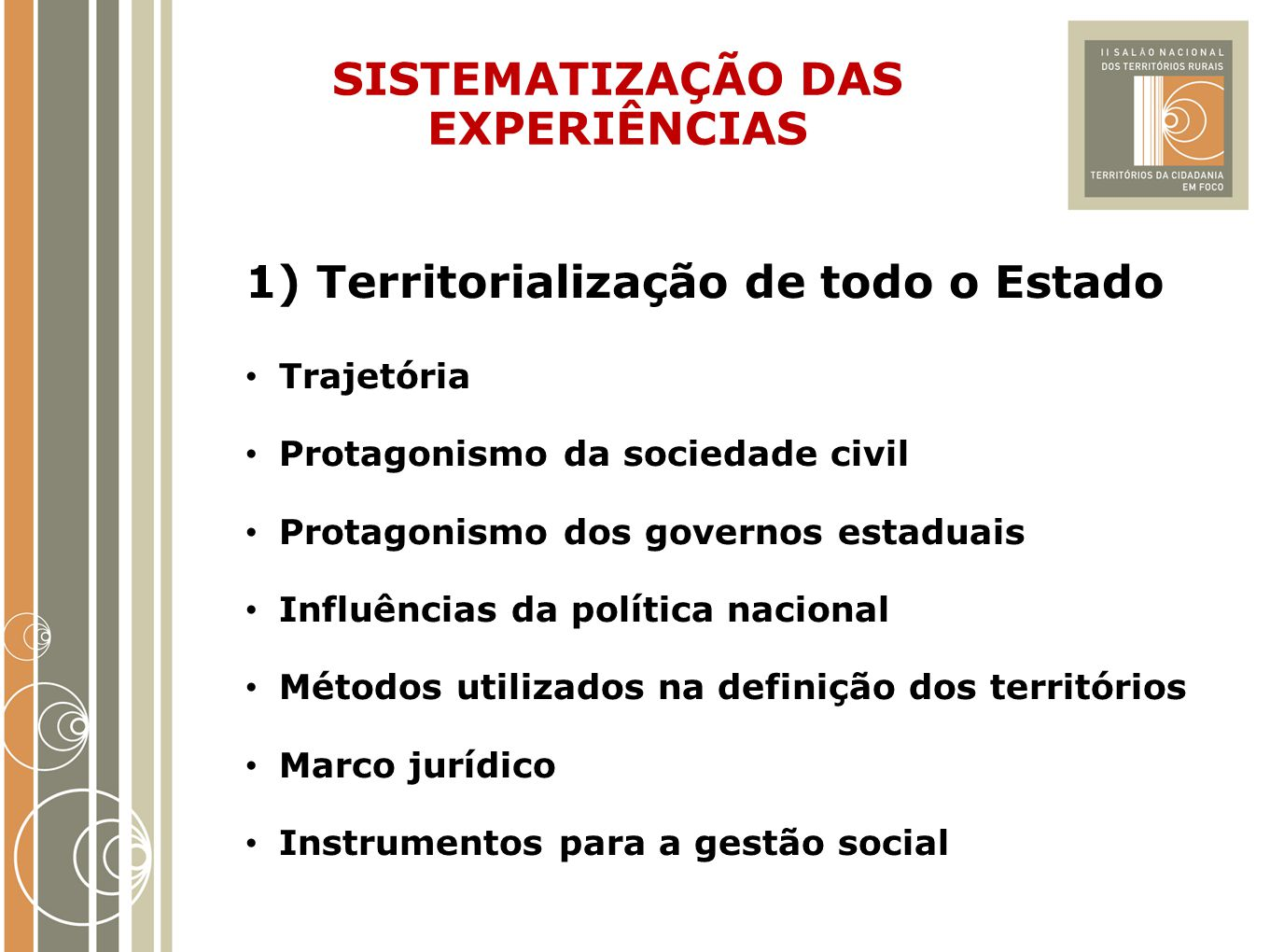 SISTEMATIZAÇÃO DAS EXPERIÊNCIAS 1) Territorialização de todo o Estado Trajetória Protagonismo da sociedade civil Protagonismo dos governos estaduais I