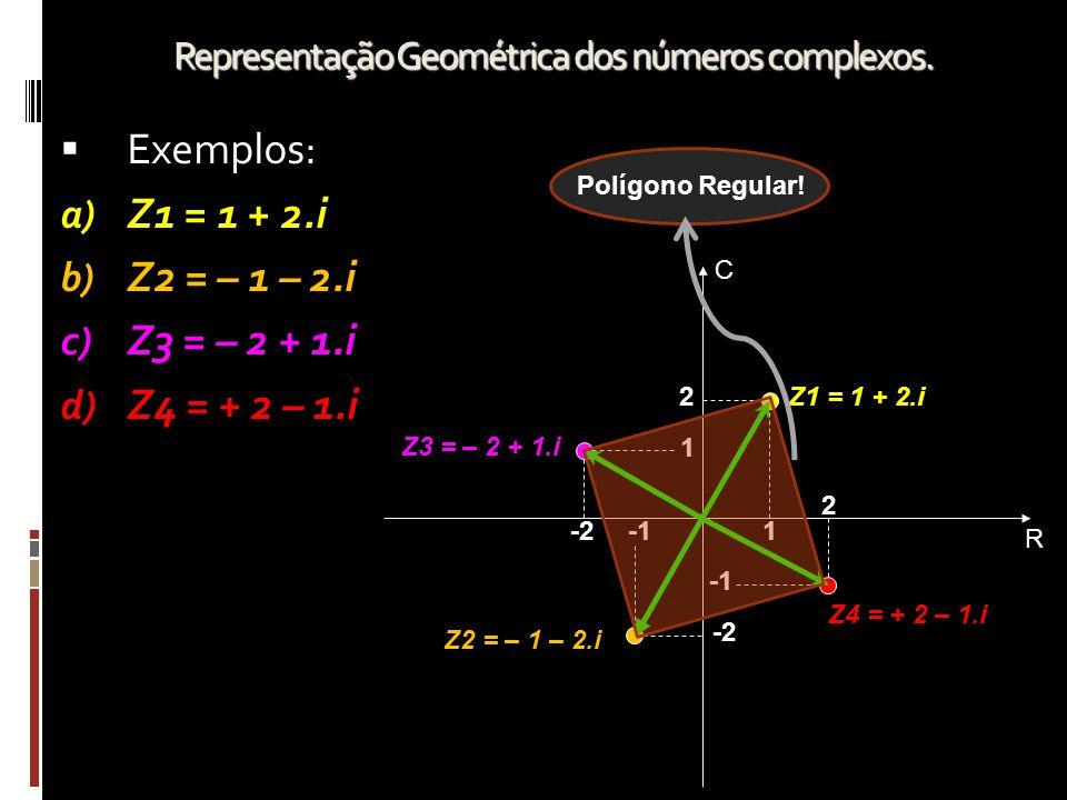 Representação Geométrica dos números complexos. EExemplos: a) Z1 = 1 + 2.i b) Z2 = – 1 – 2.i c) Z3 = – 2 + 1.i d) Z4 = + 2 – 1.i R C 1 2Z1 = 1 + 2.i