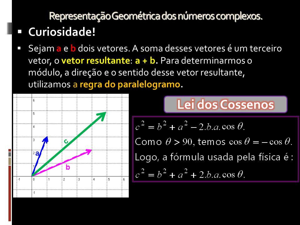 Representação Geométrica dos números complexos. CCuriosidade! SSejam a e b dois vetores. A soma desses vetores é um terceiro vetor, o vetor result