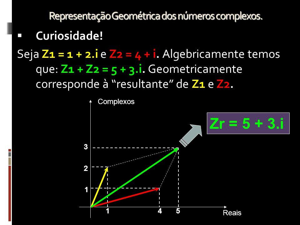 """CCuriosidade! Seja Z1 = 1 + 2.i e Z2 = 4 + i. Algebricamente temos que: Z1 + Z2 = 5 + 3.i. Geometricamente corresponde à """"resultante"""" de Z1 e Z2. Re"""