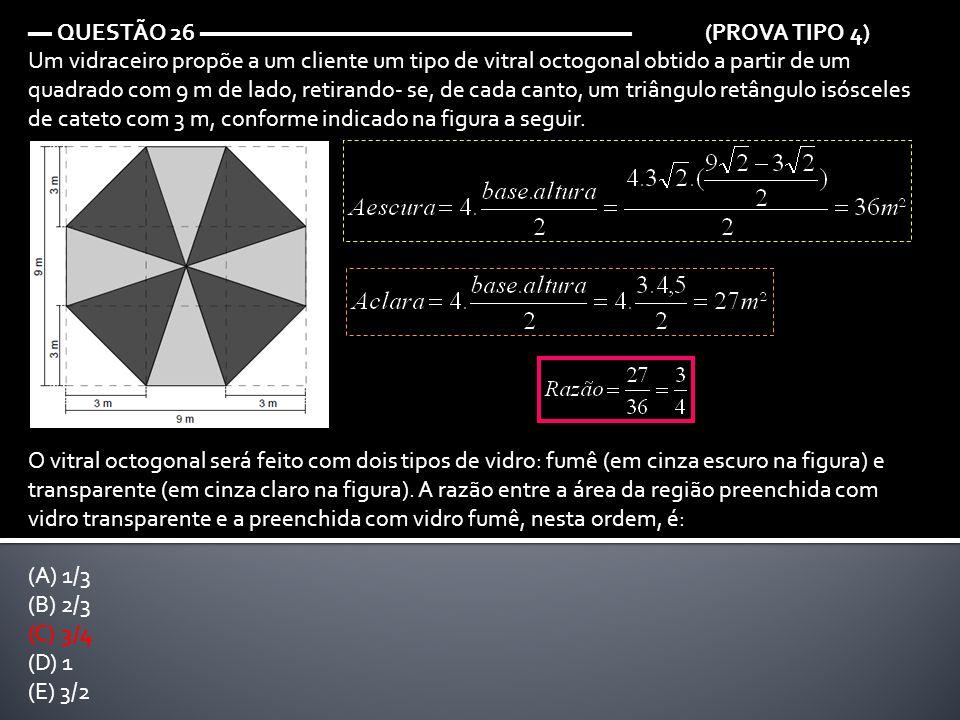 ▬ QUESTÃO 26 ▬▬▬▬▬▬▬▬▬▬▬▬▬▬▬▬▬▬ (PROVA TIPO 4) Um vidraceiro propõe a um cliente um tipo de vitral octogonal obtido a partir de um quadrado com 9 m de