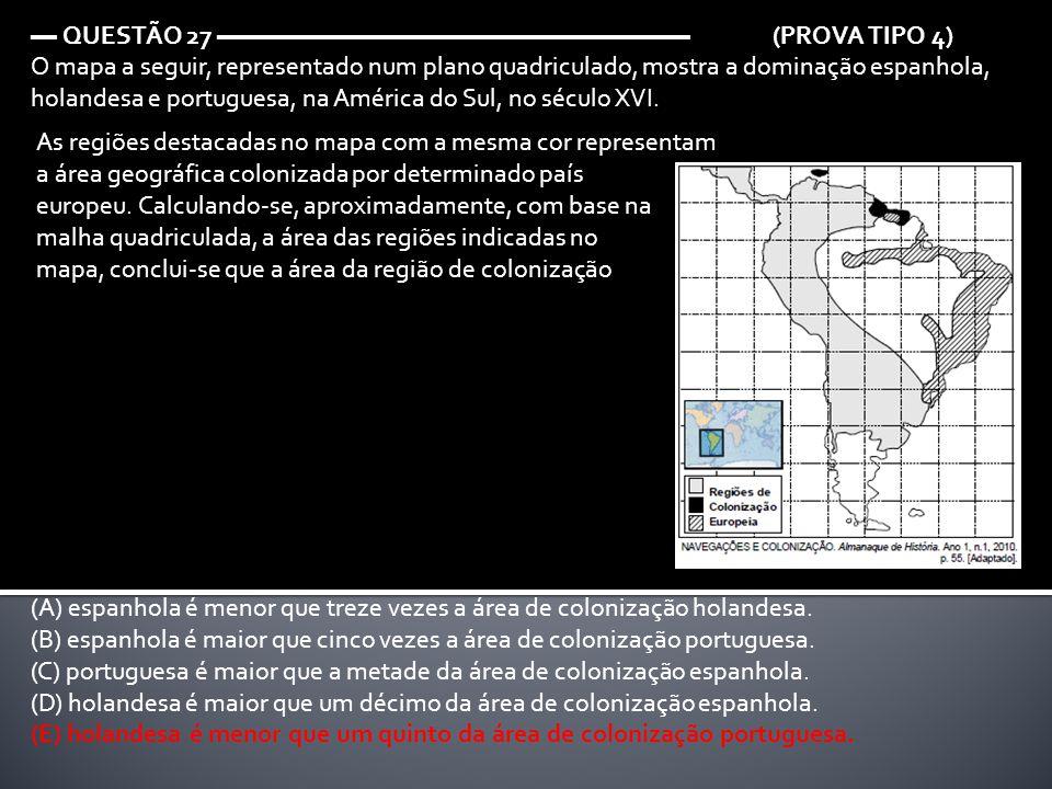 ▬ QUESTÃO 27 ▬▬▬▬▬▬▬▬▬▬▬▬▬▬▬▬▬▬ (PROVA TIPO 4) O mapa a seguir, representado num plano quadriculado, mostra a dominação espanhola, holandesa e portugu