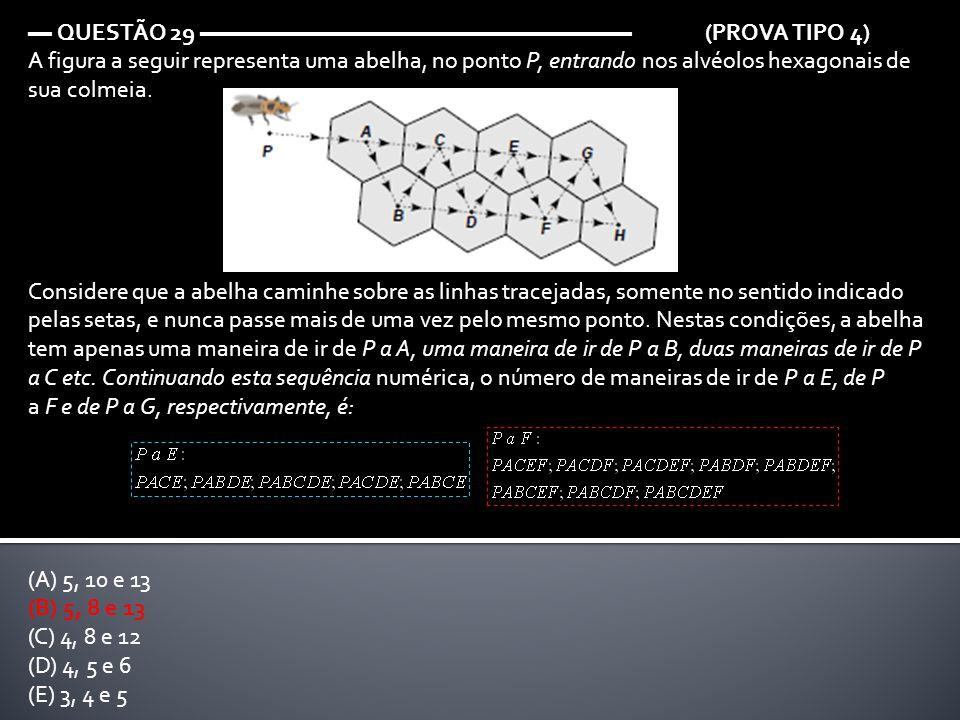 ▬ QUESTÃO 29 ▬▬▬▬▬▬▬▬▬▬▬▬▬▬▬▬▬▬ (PROVA TIPO 4) A figura a seguir representa uma abelha, no ponto P, entrando nos alvéolos hexagonais de sua colmeia. C