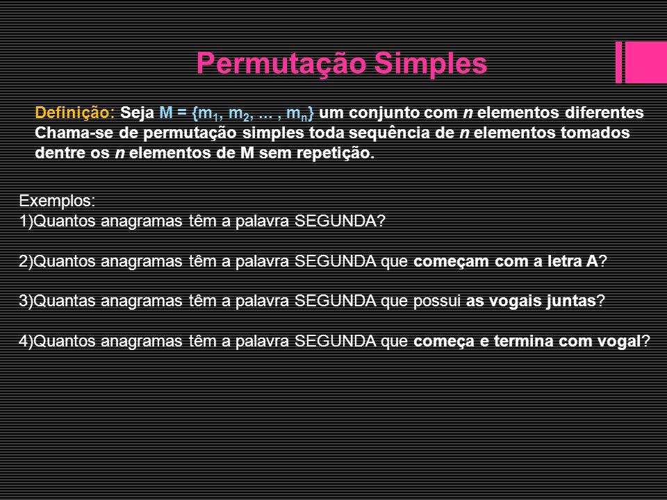 Permutação com repetição Exemplos: 1)Quantos anagramas têm a palavra PALAVRA.