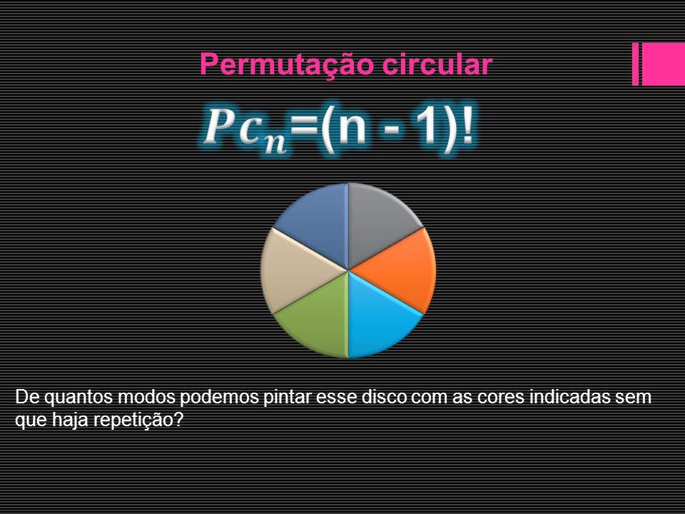 Permutação circular De quantos modos podemos pintar uma pirâmide pentagonal regular usando 6 cores diferentes, sendo cada face de uma cor?