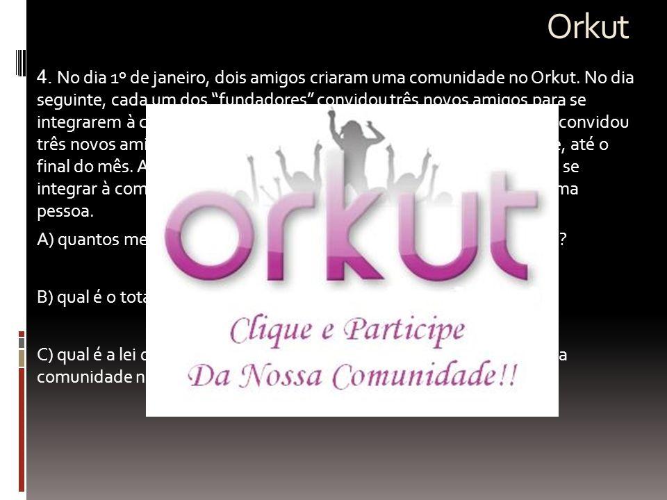 """Orkut  4. No dia 1º de janeiro, dois amigos criaram uma comunidade no Orkut. No dia seguinte, cada um dos """"fundadores"""" convidou três novos amigos par"""