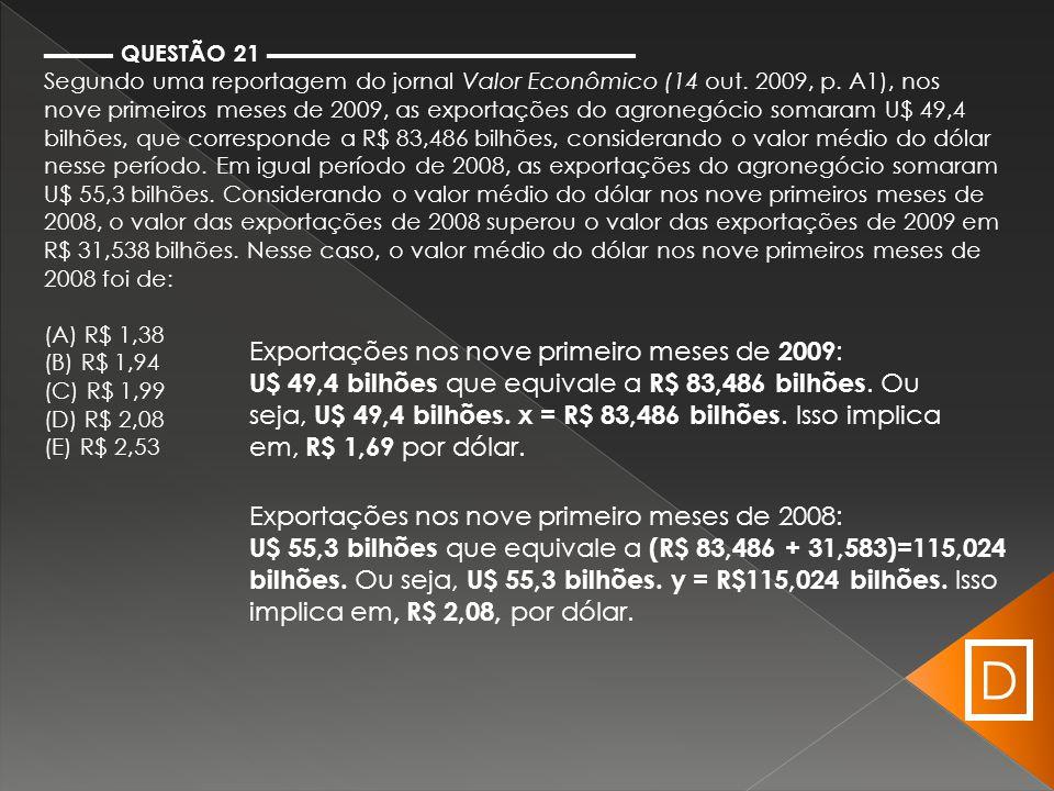 ▬▬▬ QUESTÃO 21 ▬▬▬▬▬▬▬▬▬▬▬▬▬▬▬▬ Segundo uma reportagem do jornal Valor Econômico (14 out. 2009, p. A1), nos nove primeiros meses de 2009, as exportaçõ