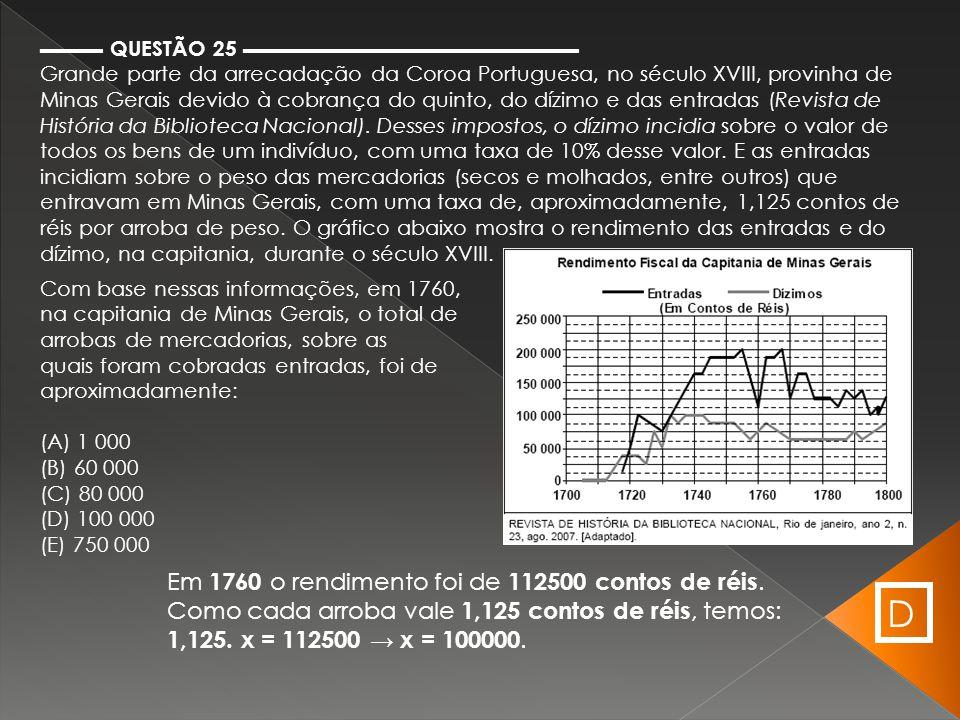 ▬▬▬ QUESTÃO 25 ▬▬▬▬▬▬▬▬▬▬▬▬▬▬▬▬ Grande parte da arrecadação da Coroa Portuguesa, no século XVIII, provinha de Minas Gerais devido à cobrança do quinto