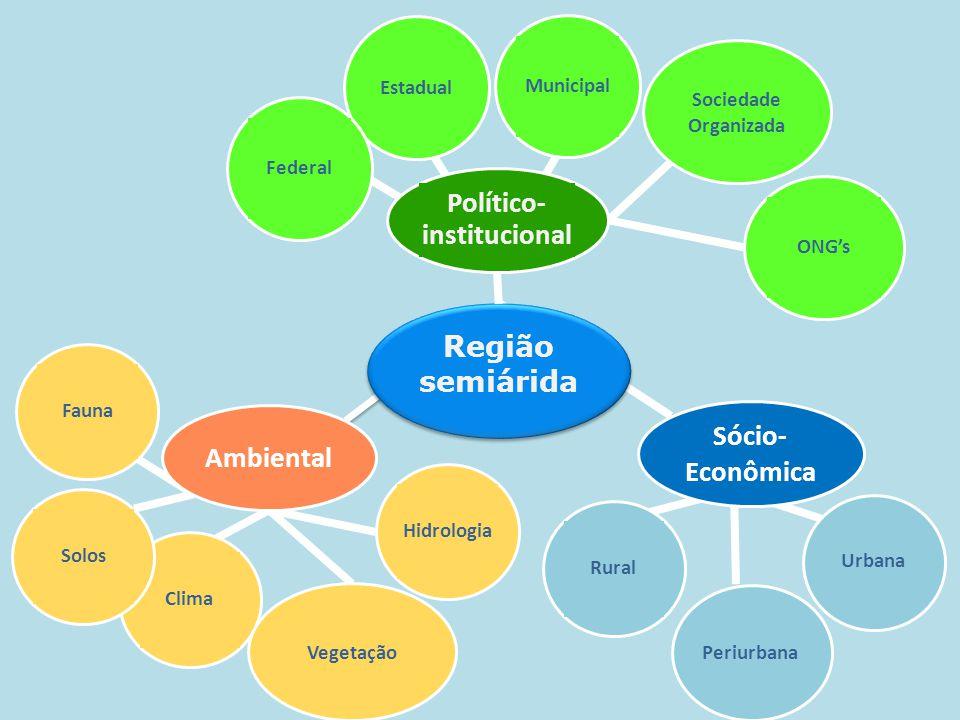 Urbana Periurbana Rural Clima Vegetação Hidrologia Fauna Solos Municipal Estadual Federal Sociedade Organizada Sócio- Econômica Ambiental Região semiá