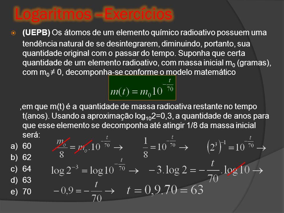  (UEPB) Os átomos de um elemento químico radioativo possuem uma tendência natural de se desintegrarem, diminuindo, portanto, sua quantidade original
