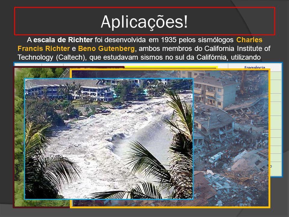 Aplicações! A escala de Richter foi desenvolvida em 1935 pelos sismólogos Charles Francis Richter e Beno Gutenberg, ambos membros do California Instit