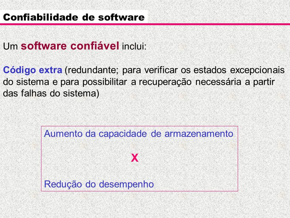 Confiabilidade de software Um software confiável inclui: Código extra (redundante; para verificar os estados excepcionais do sistema e para possibilit