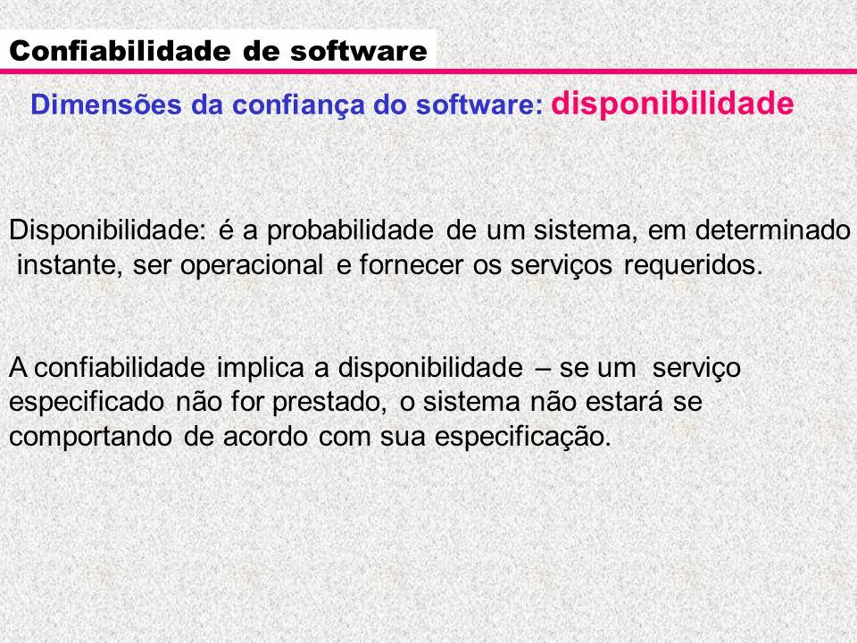 Dimensões da confiança do software: disponibilidade Confiabilidade de software Disponibilidade: é a probabilidade de um sistema, em determinado instan