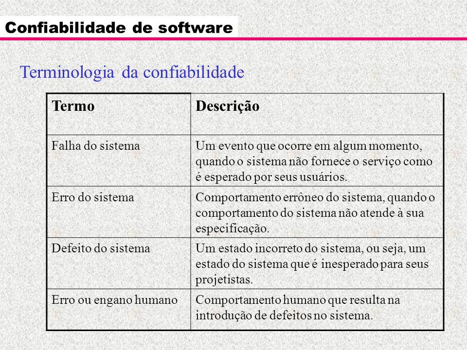 Confiabilidade de software Terminologia da confiabilidade TermoDescrição Falha do sistemaUm evento que ocorre em algum momento, quando o sistema não f