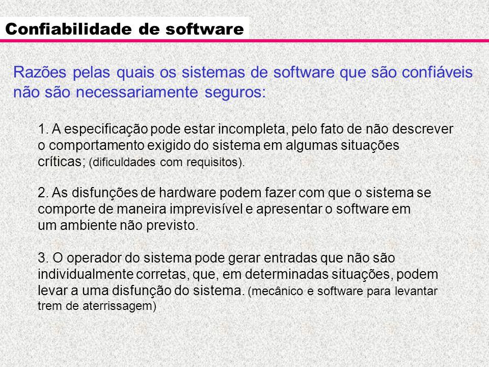 Confiabilidade de software Razões pelas quais os sistemas de software que são confiáveis não são necessariamente seguros: 1. A especificação pode esta