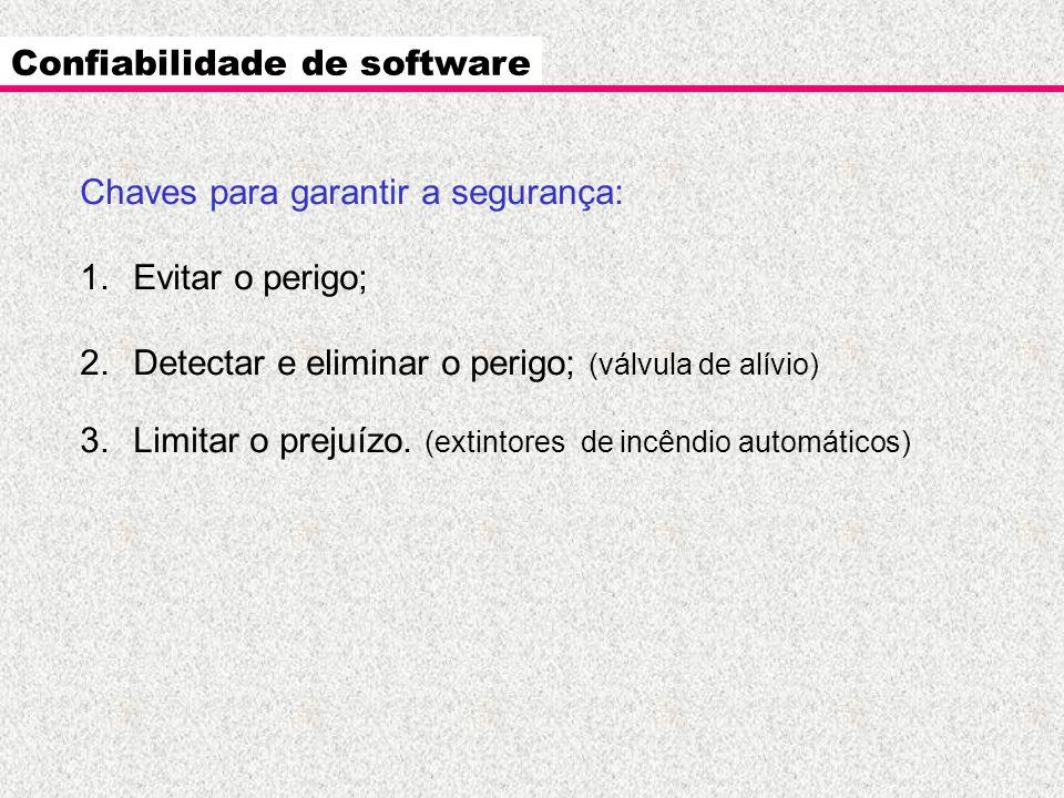 Confiabilidade de software Chaves para garantir a segurança: 1.Evitar o perigo; 2.Detectar e eliminar o perigo; (válvula de alívio) 3.Limitar o prejuí