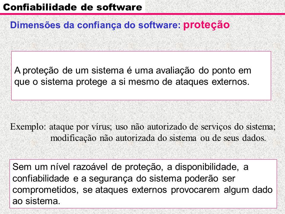 Dimensões da confiança do software: proteção Confiabilidade de software A proteção de um sistema é uma avaliação do ponto em que o sistema protege a s