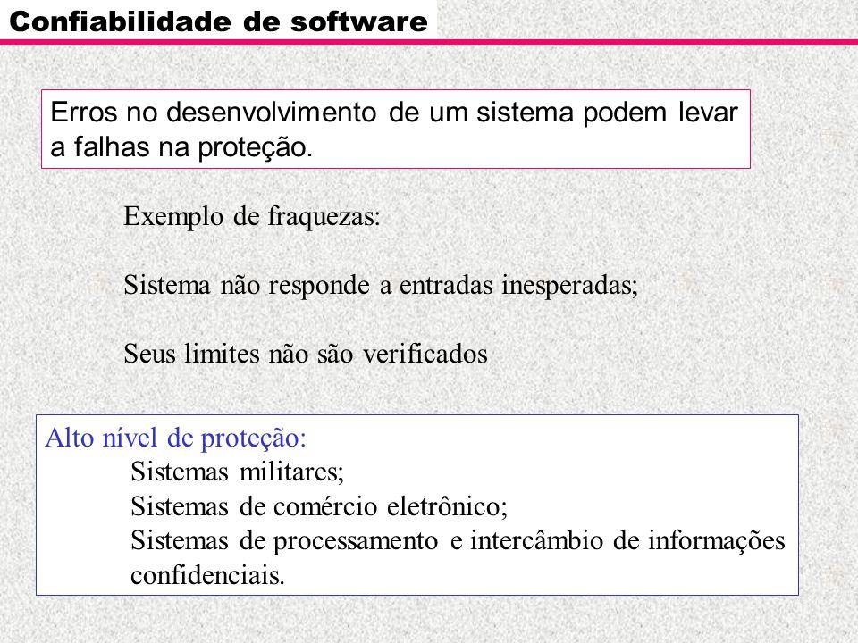Confiabilidade de software Erros no desenvolvimento de um sistema podem levar a falhas na proteção. Exemplo de fraquezas: Sistema não responde a entra